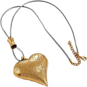 Lagenlook burnished gold large chunky heart pendant grey leather long necklace