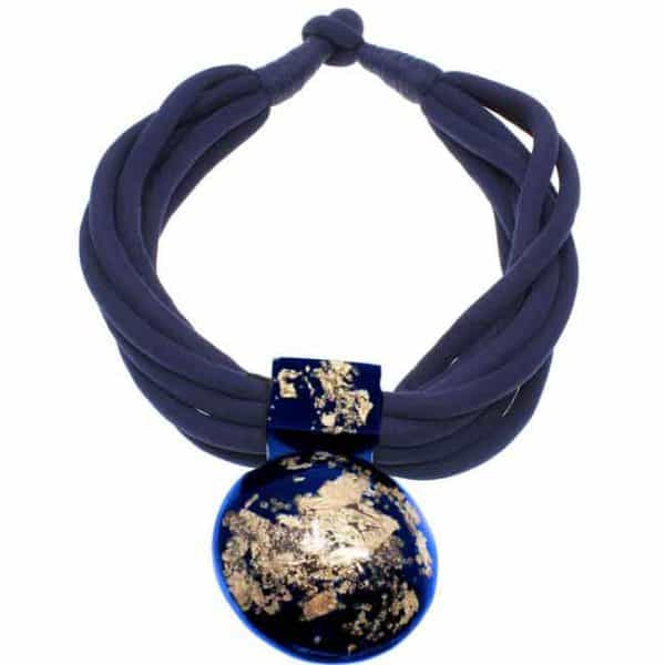 Blue and gold large chunky statement pendant choker necklace