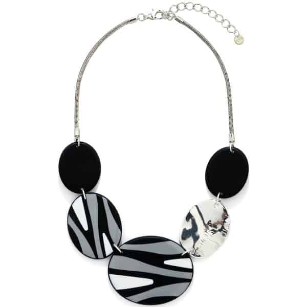 Patterned acrylic large oval disc on a chain statement necklace