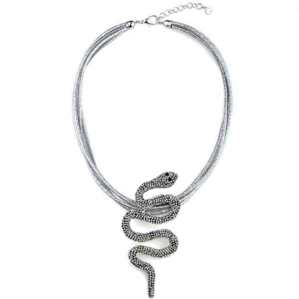 Large silver colour cobra snake crystal pendant on a rope choker necklace a fashion jewellery design