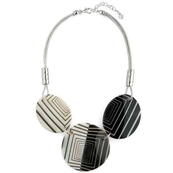 Patterned black and white tone acrylic large circle and oval statement necklace