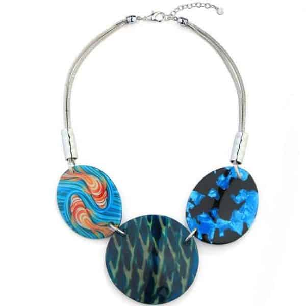 Patterned blue tone acrylic large circle and oval statement necklace