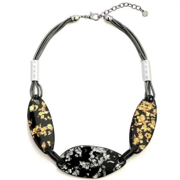 Acrylic black petals with silver and gold choker chain necklace