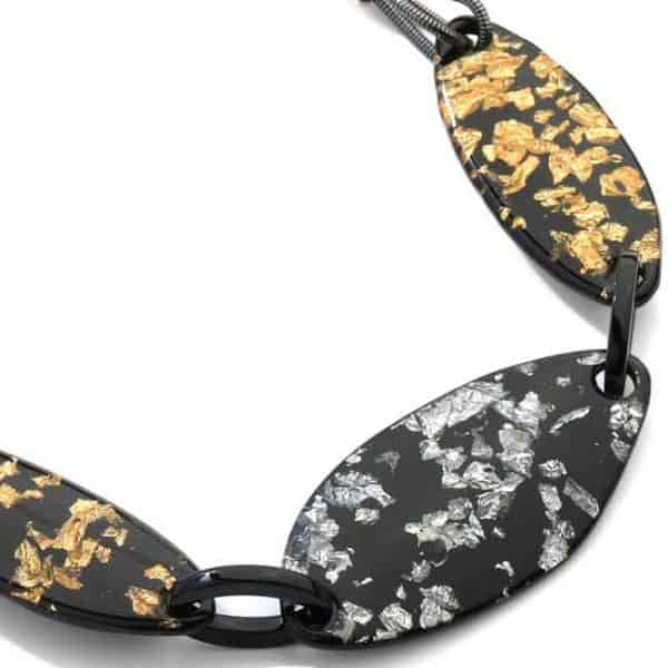 Acrylic black petals with silver and gold choker necklace