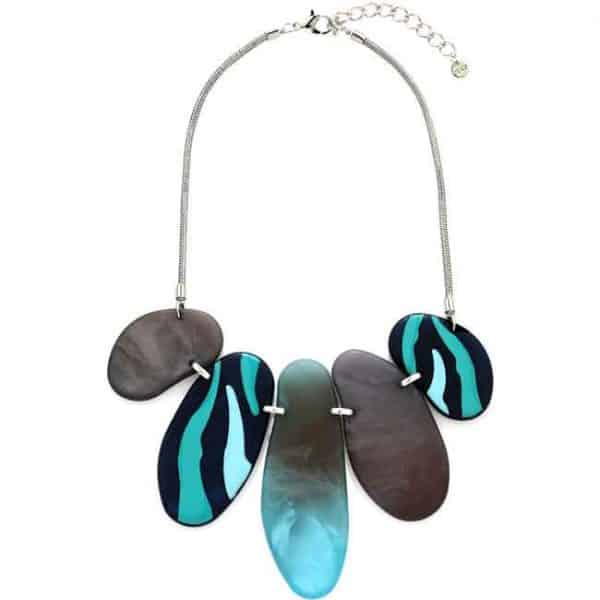 Tribal patterned blue tone acrylic large statement necklace