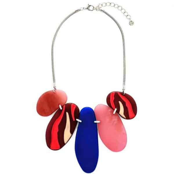 Tribal patterned colourful acrylic large statement necklace