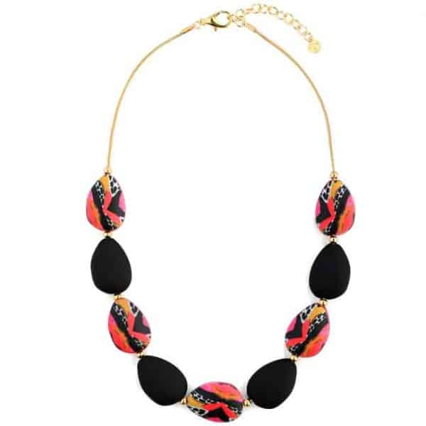 Beautiful chunky colourful patterned pear drop shape necklace