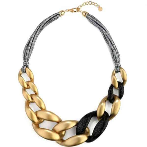 Big chunky interlinked gold and black acrylic curb links statement necklace
