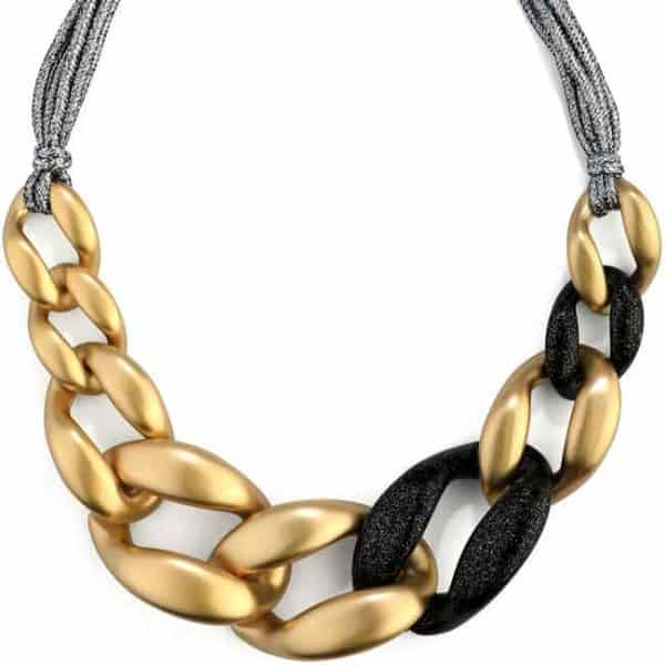 Big chunky interlinked gold and black acrylic curb links necklace