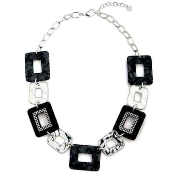 Black and silver crystal rectangle shape unusual choker necklace