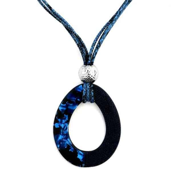 Beautiful blue acrylic patterned large pendant cord necklace