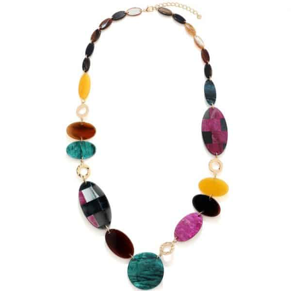 A Stunning multicoloured acrylic patterned oval shaped long necklace