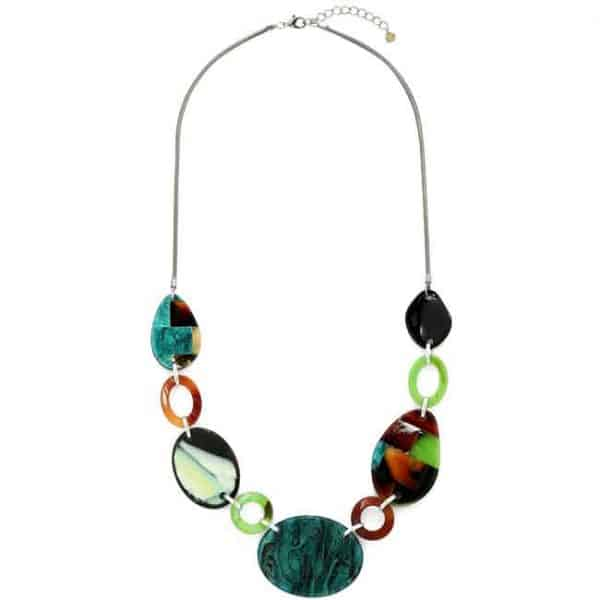 Beautiful colourful acrylic patterned oval shaped long necklace