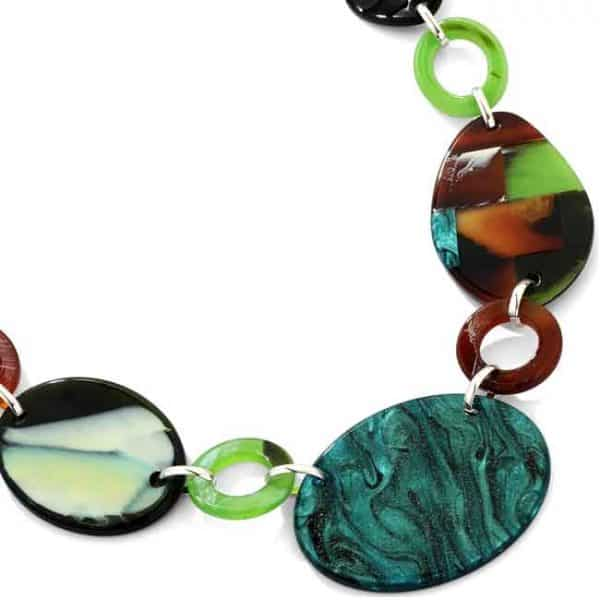 Beautiful colourful acrylic patterned oval long necklace