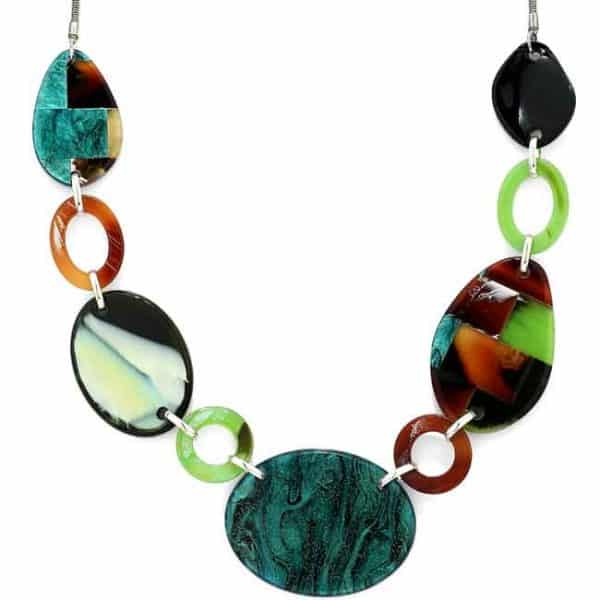 Colourful acrylic patterned oval shaped long necklace