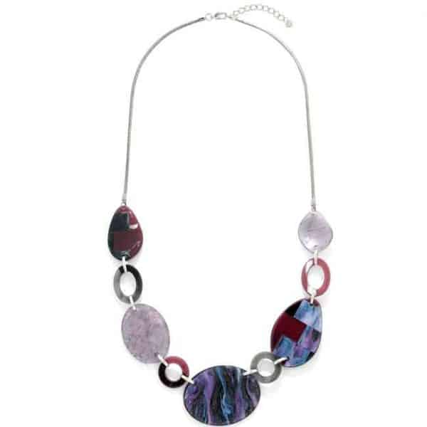 Beautiful stunning multicoloured acrylic patterned oval shaped long necklace