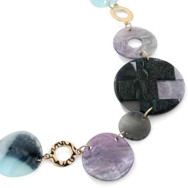 Coloured acrylic patterned round shaped long necklace