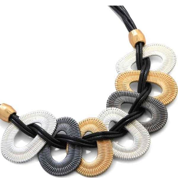 Fashion jewellery large three tone colour metal statement cord necklace