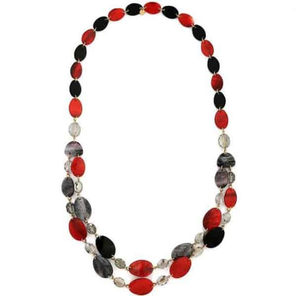Colourful layered acrylic patterned oval shaped disc long necklace
