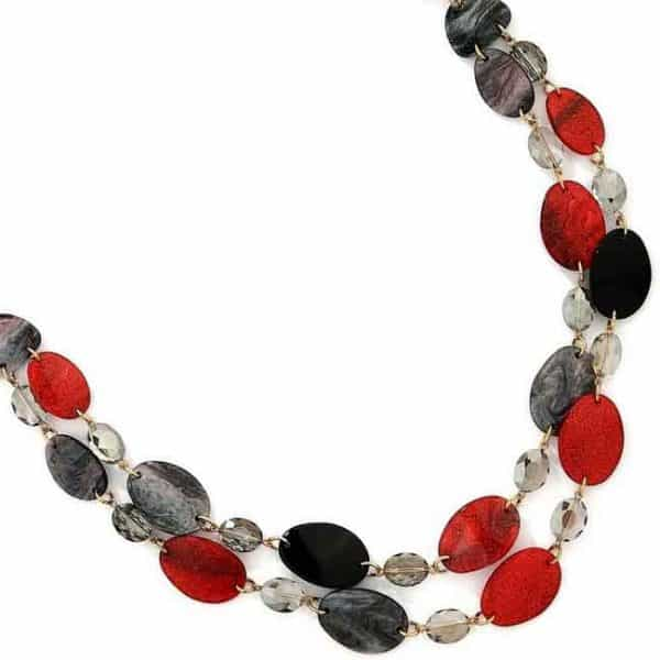Colourful layered acrylic patterned oval shaped long necklace